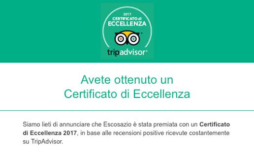 Escosazio Certificato Eccellenza TripAdvisor